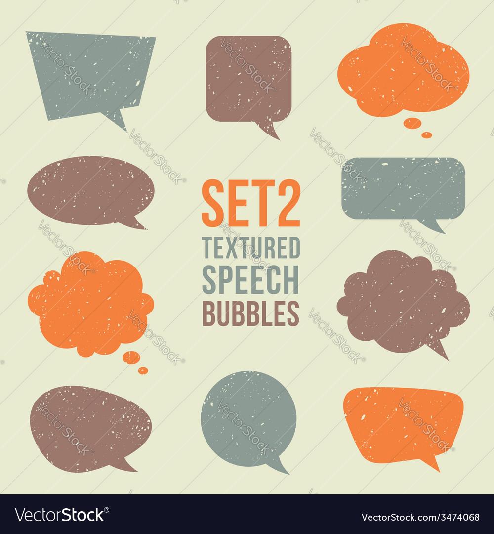 Retro textured speech bubbles set