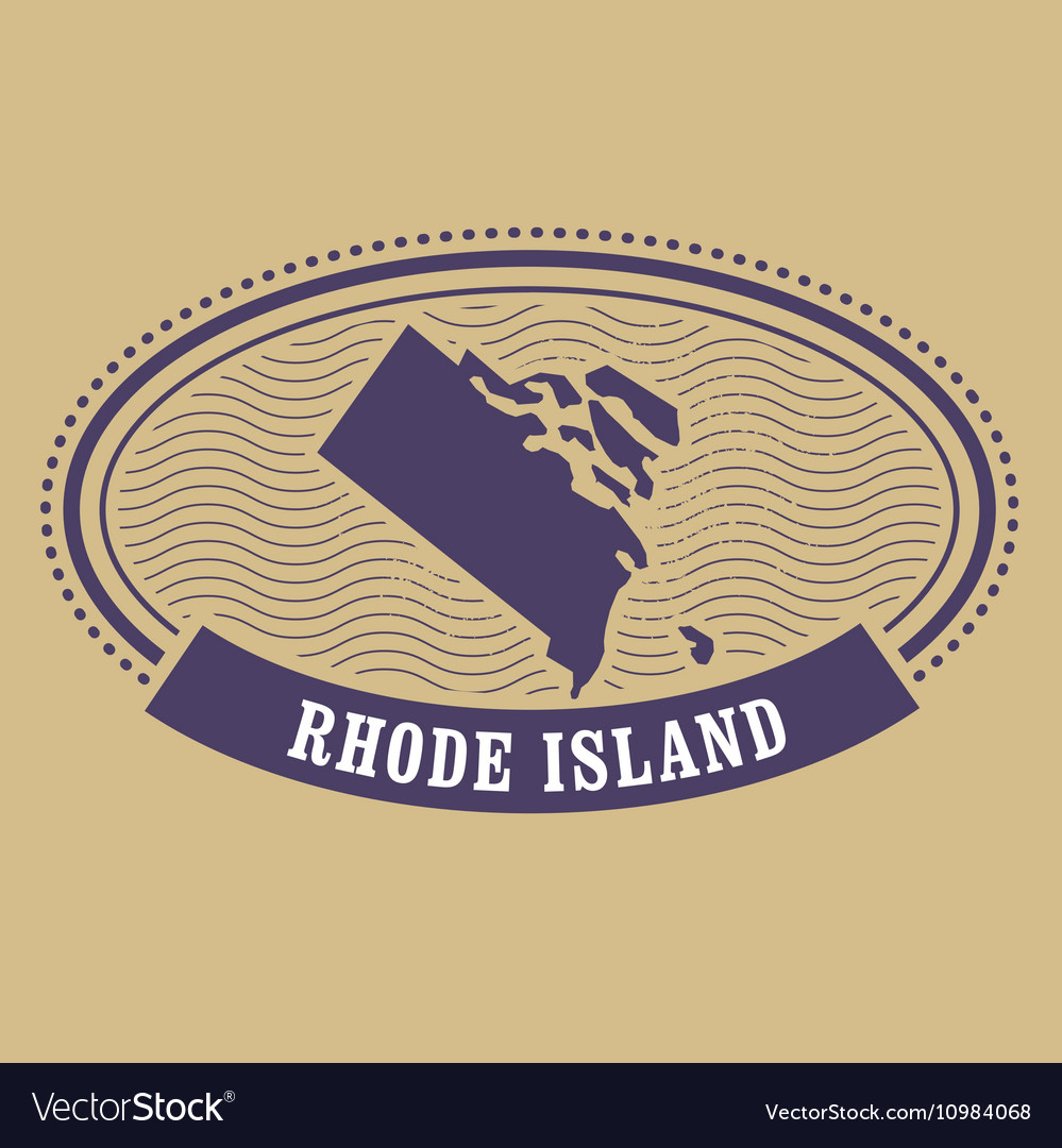Rhode Island Map Silhouette Oval Stamp Of State Vector Image