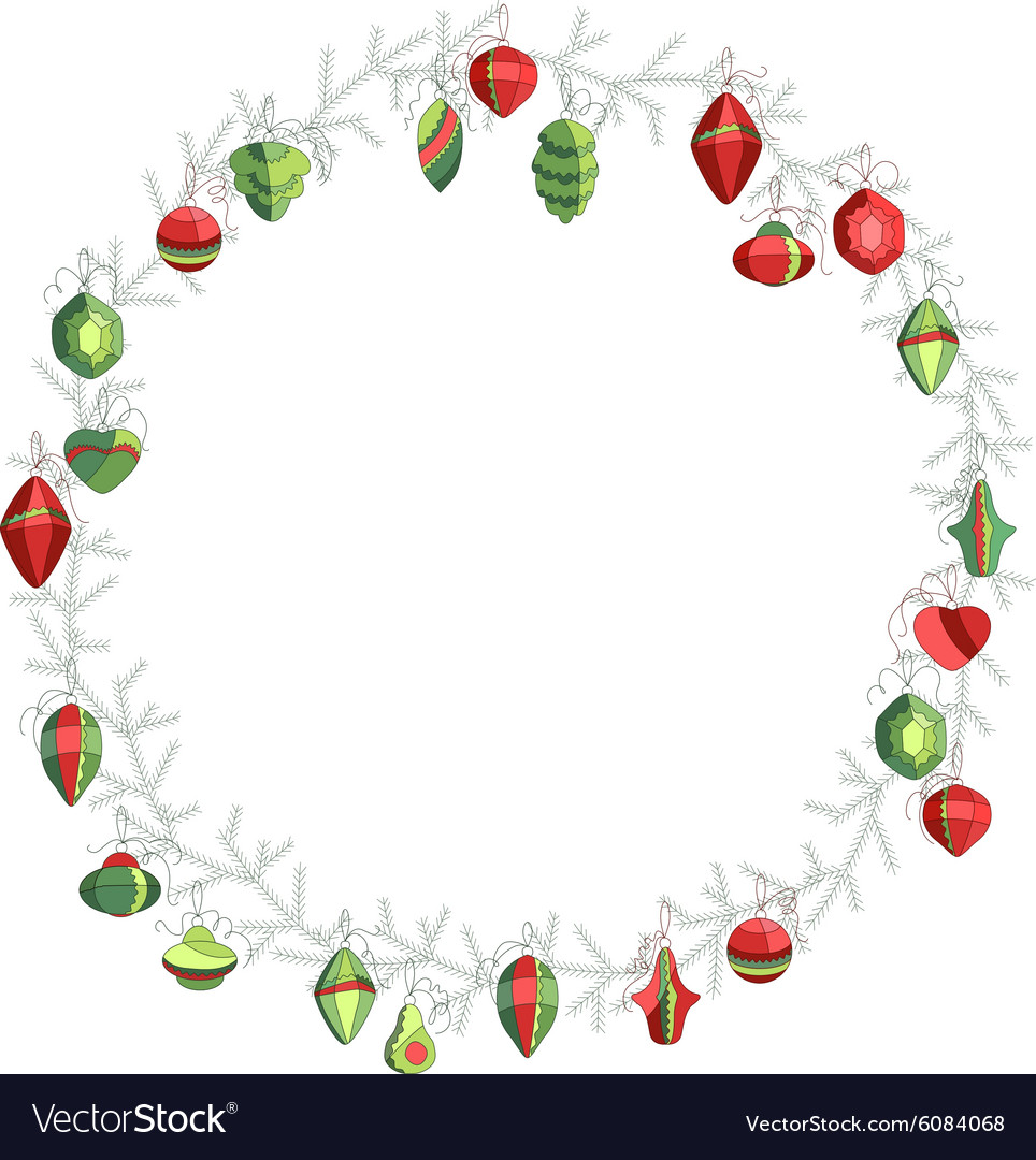 Round Christmas wreath with decoration isolated on