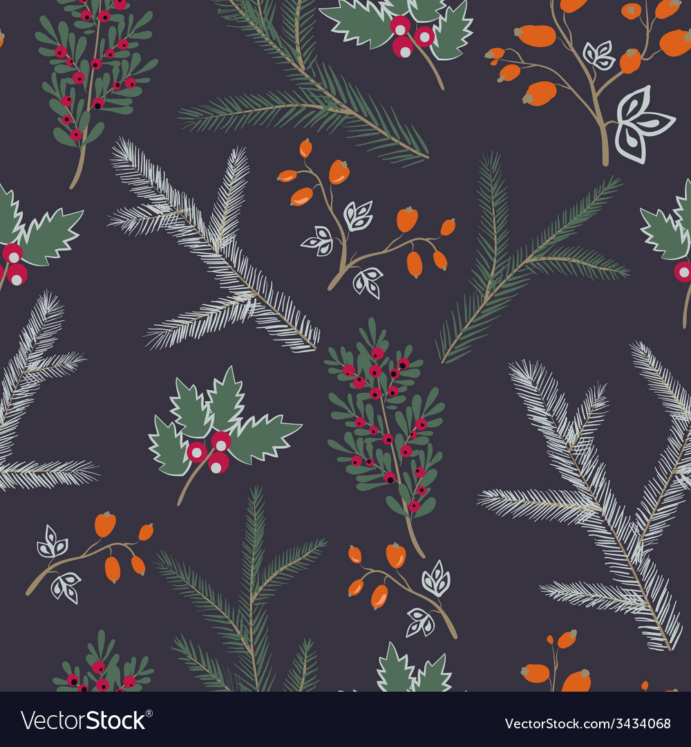 Seamless pattern floral branches winter christmas