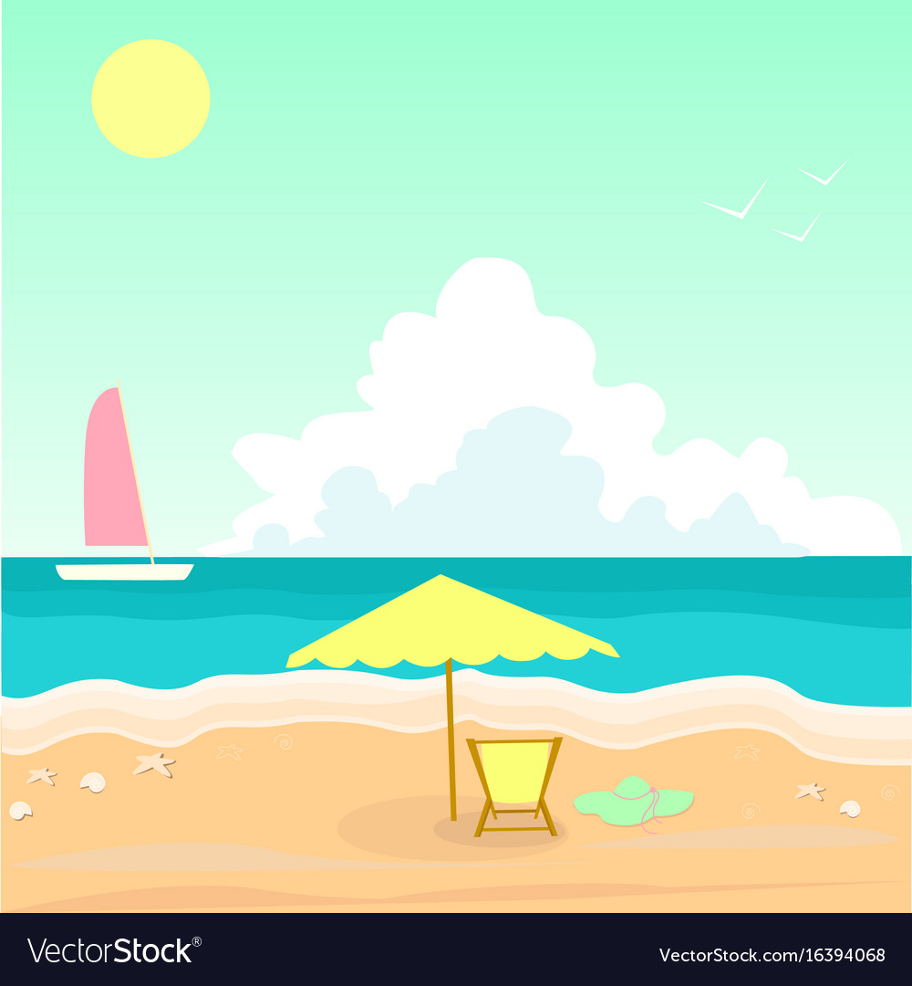 Seascape sea shell white ship crimson sail of vector image