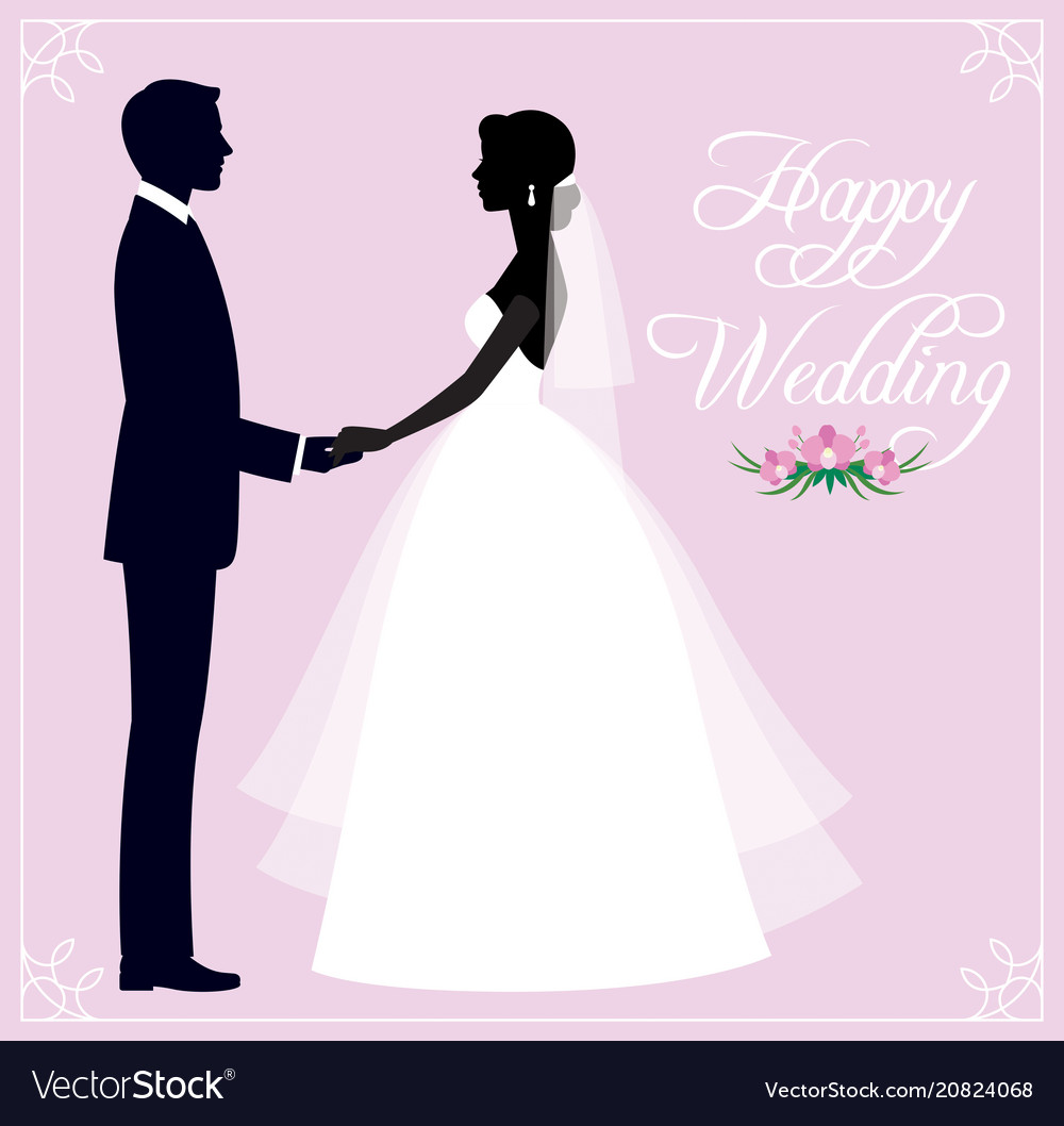 Silhouette of a loving couple of newlyweds groom