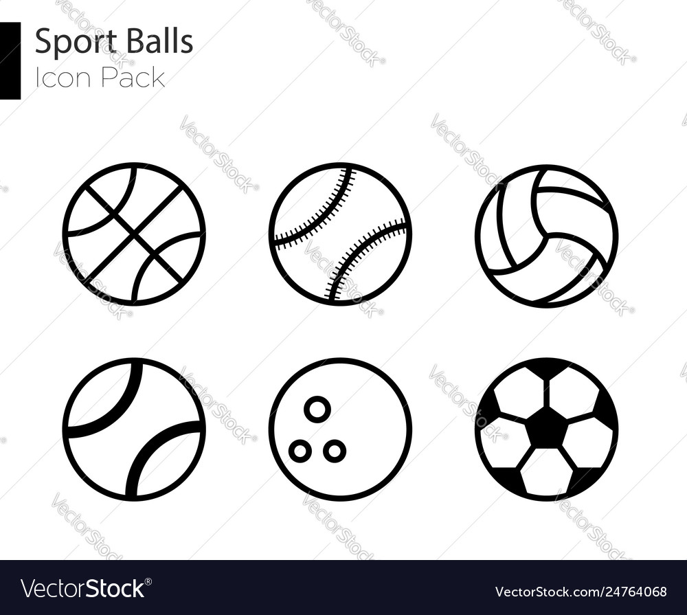 Sports balls minimal flat line icon set