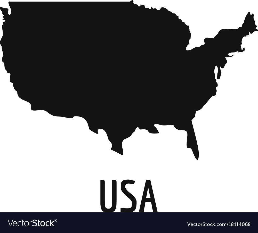 Usa Map Black.Usa Map In Black Simple Royalty Free Vector Image