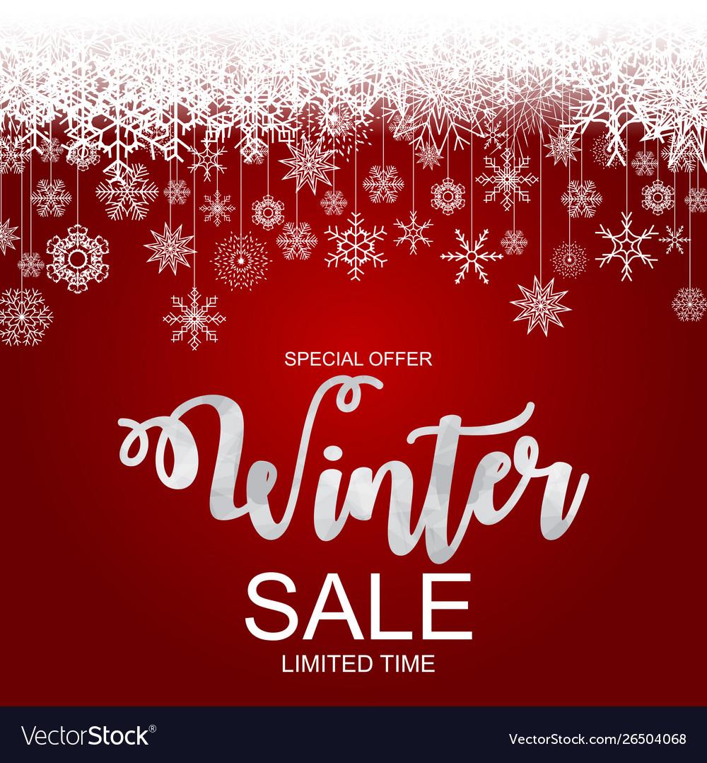 Winter sale background special offer banner