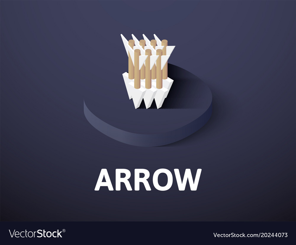 Arrow isometric icon isolated on color background
