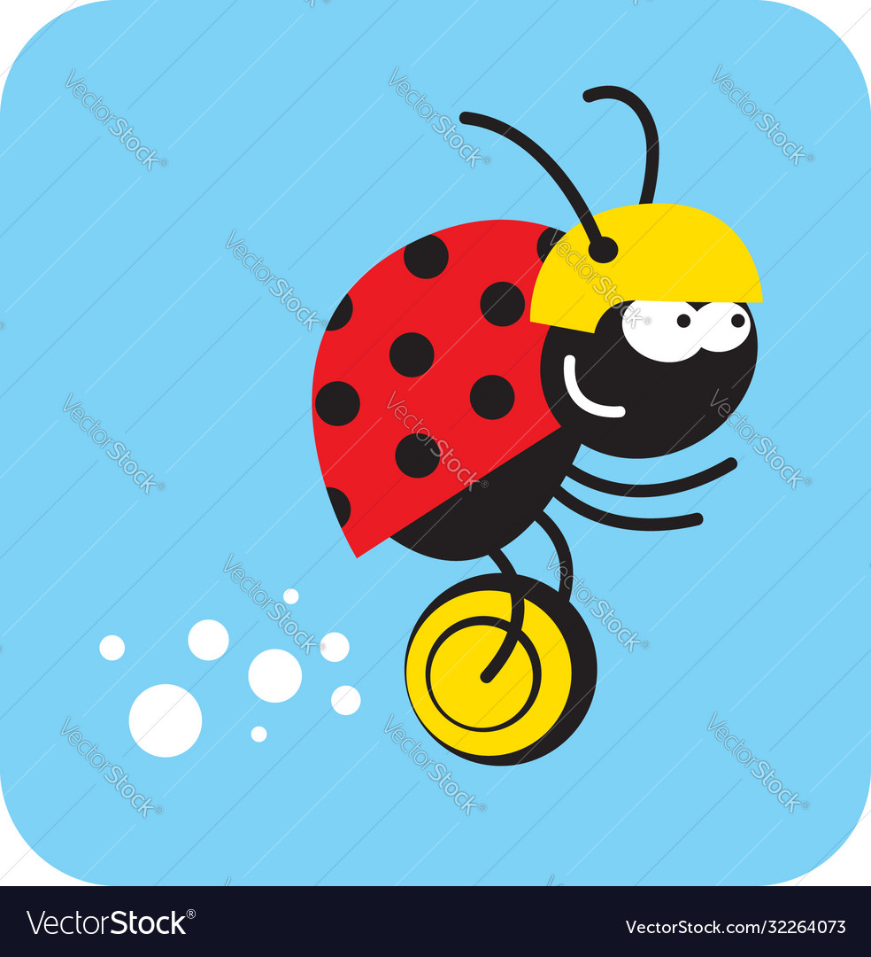 Beetle rides quickly on a unicycle