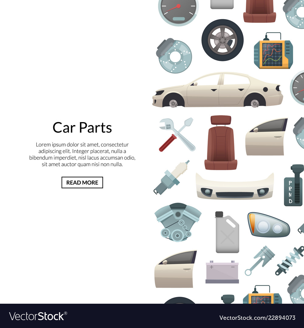 Car parts background with text
