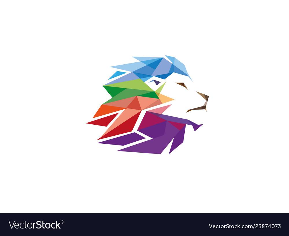 Colorful creative geometric lion head logo symbol