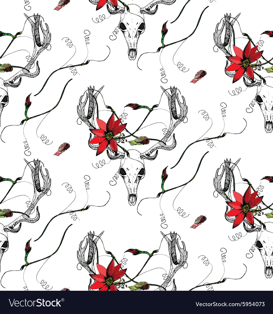 Deer Skull and passion flower pattern vector image