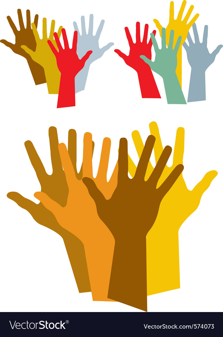 Diverse hands silhouette vector image