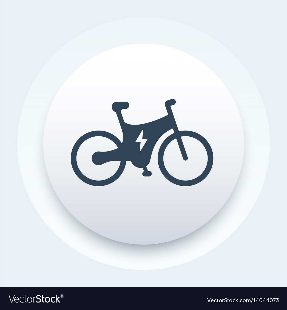 Electric bike icon bicycle with integrated motor vector image