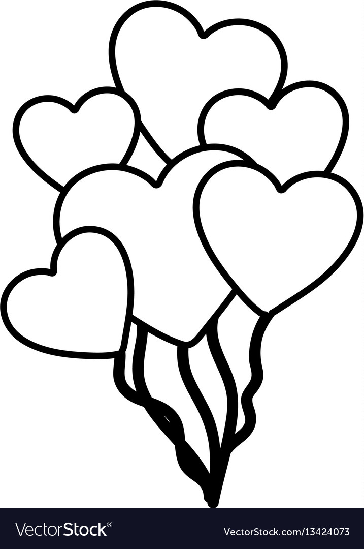 Hand drawn silhouette with balloons of hearts vector image