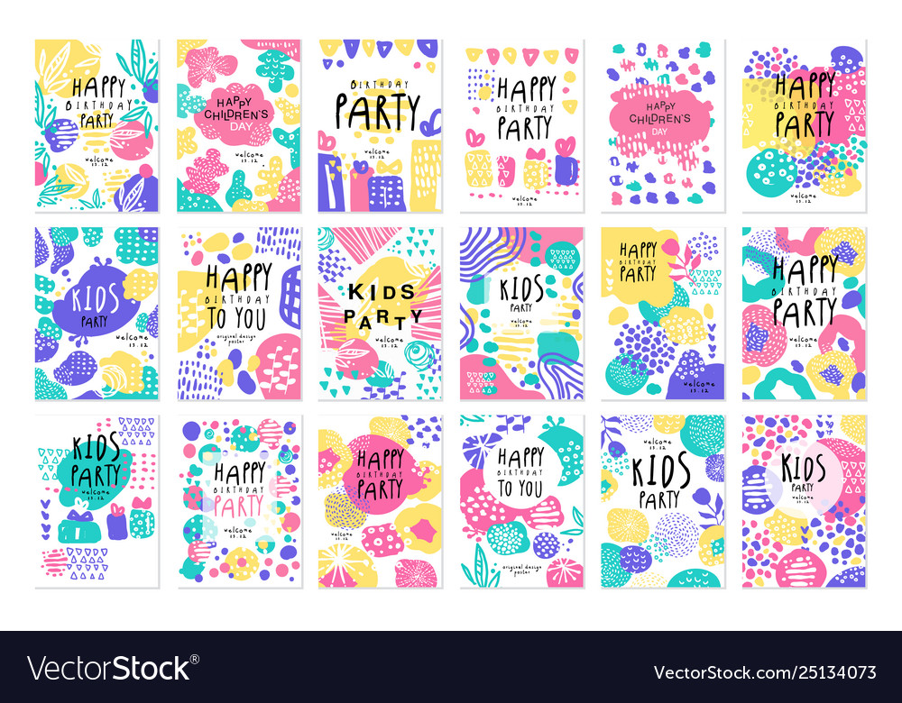 Happy birthday party original design posters set