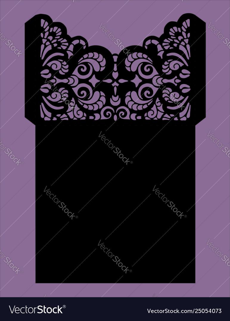 Laser cut wedding card template invitation