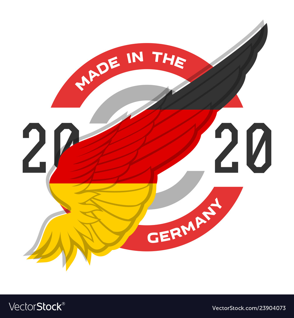 Made in germany badge with usa flag elements