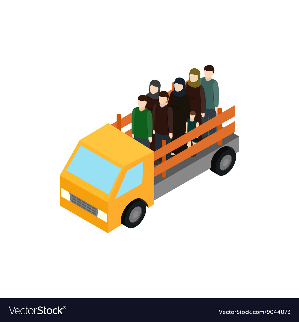 Refugees on truck icon isometric 3d style