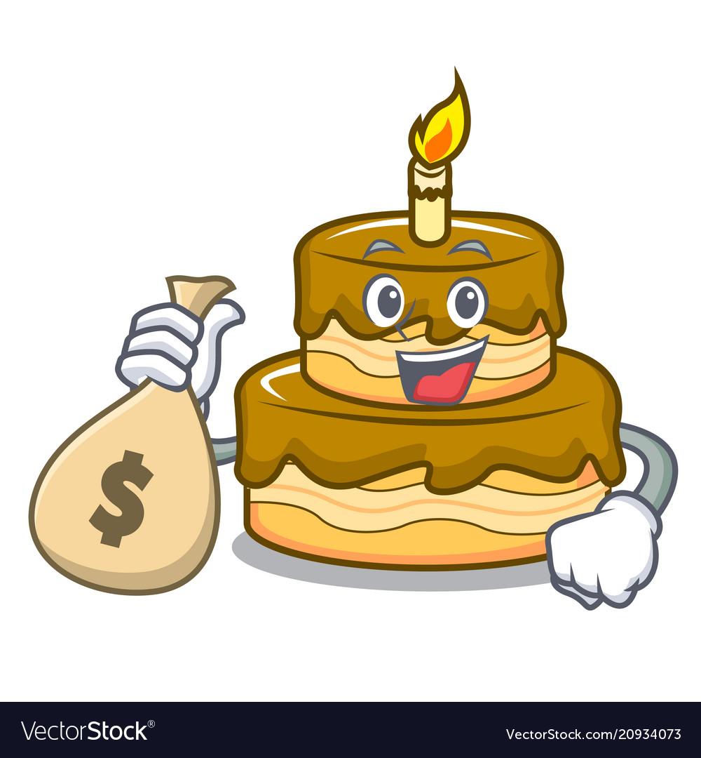 Prime With Money Bag Birthday Cake Character Cartoon Vector Image Funny Birthday Cards Online Kookostrdamsfinfo