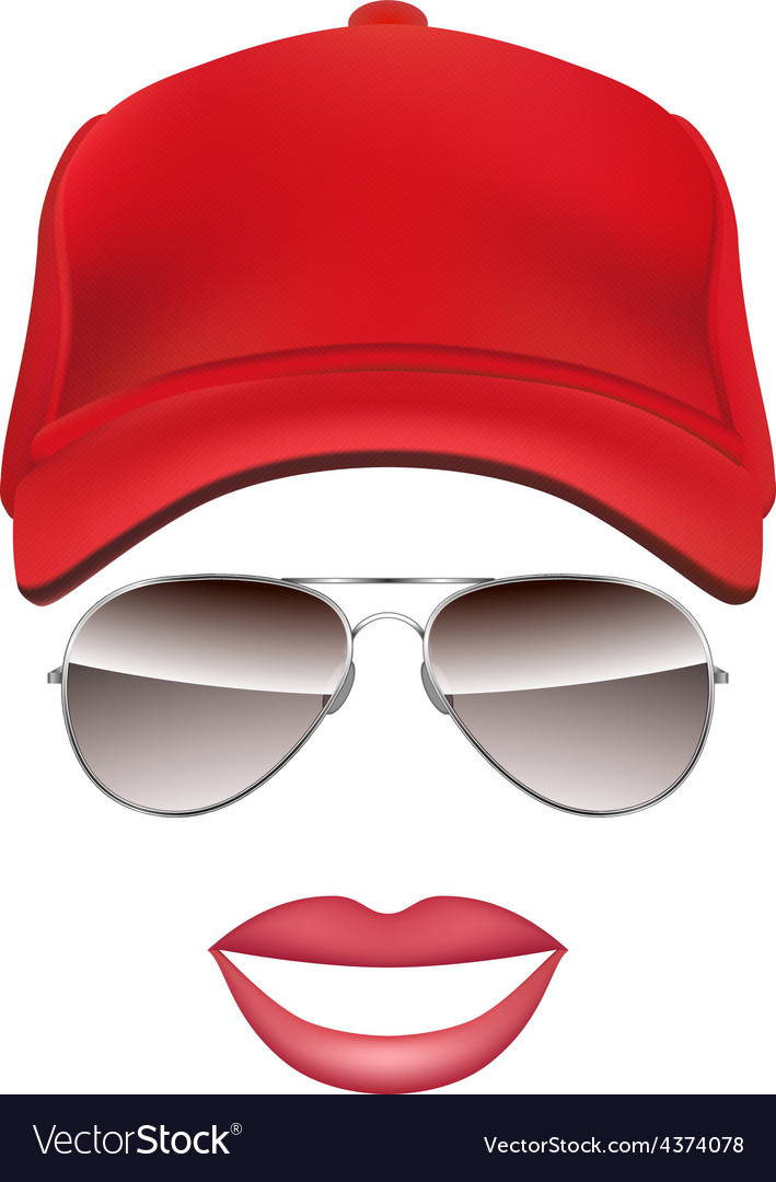 Baseball cap Glasses and lips isolated on white