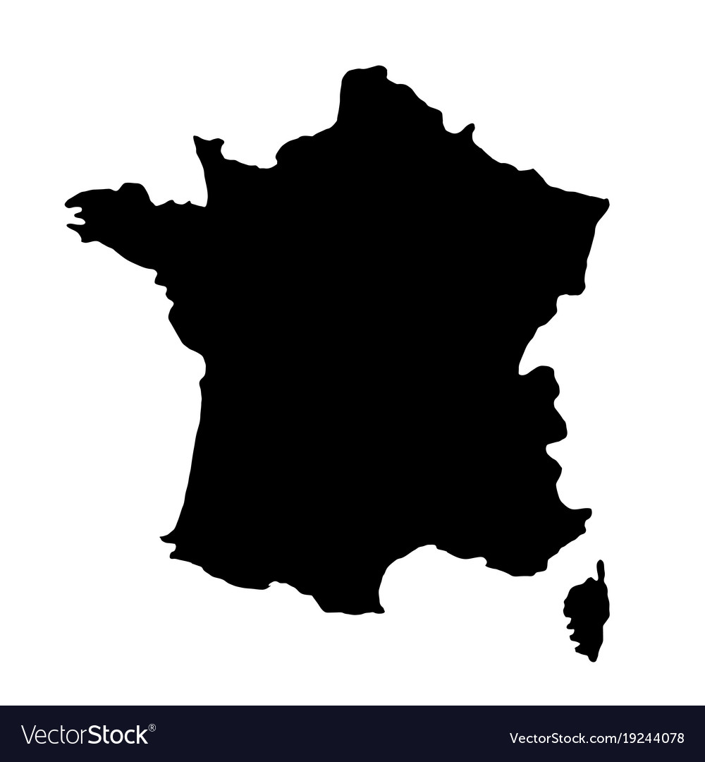 Country Map Of France.Black Silhouette Country Borders Map Of France On