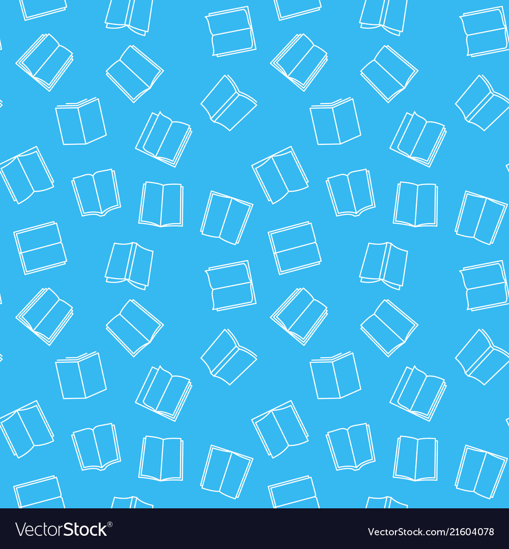 Books blue seamless pattern in thin line