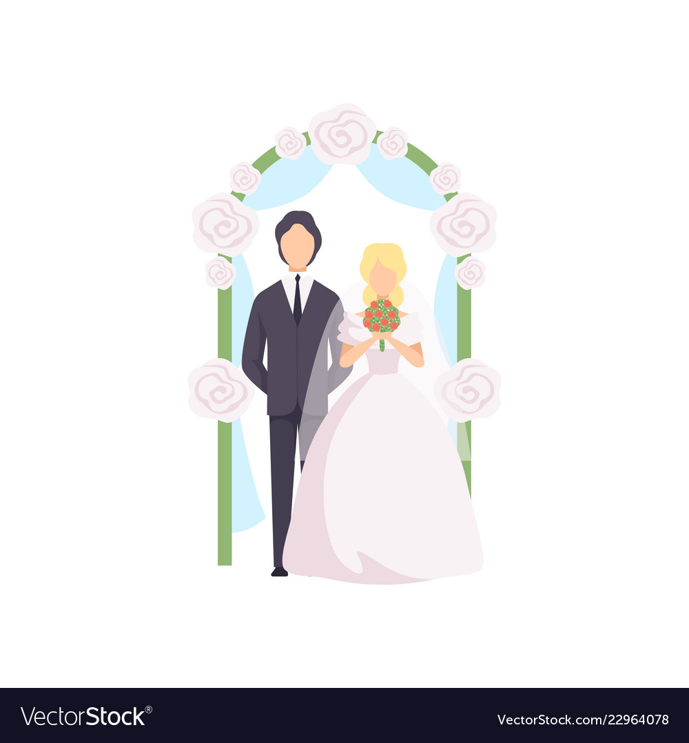 Bride and groom standing near wedding arch at