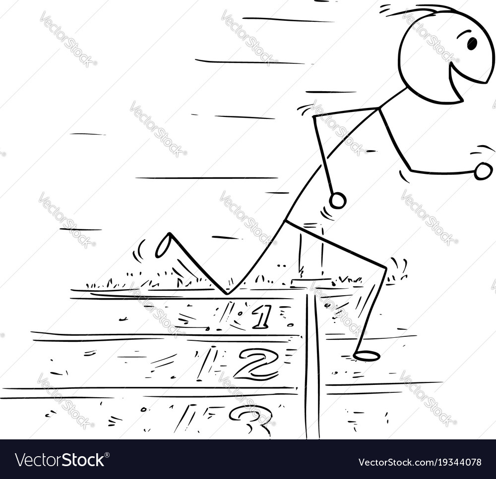 Cartoon of man winning the race run
