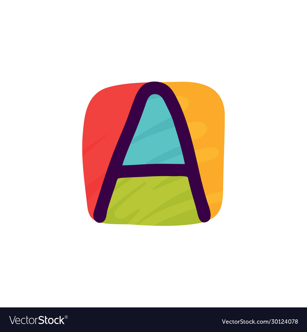 Letter a logo in kids paper applique style