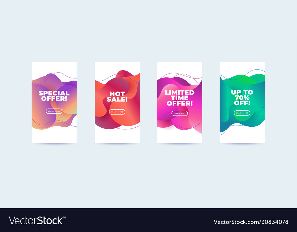 Modern abstract sale banners set flat