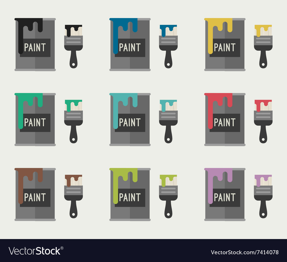 Paint brushes and paint buckets