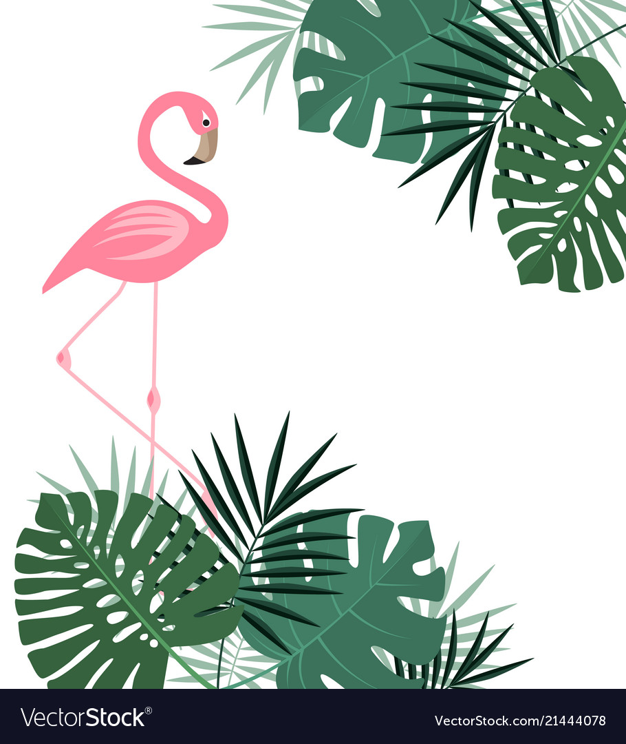 Palm leaves and flamingo