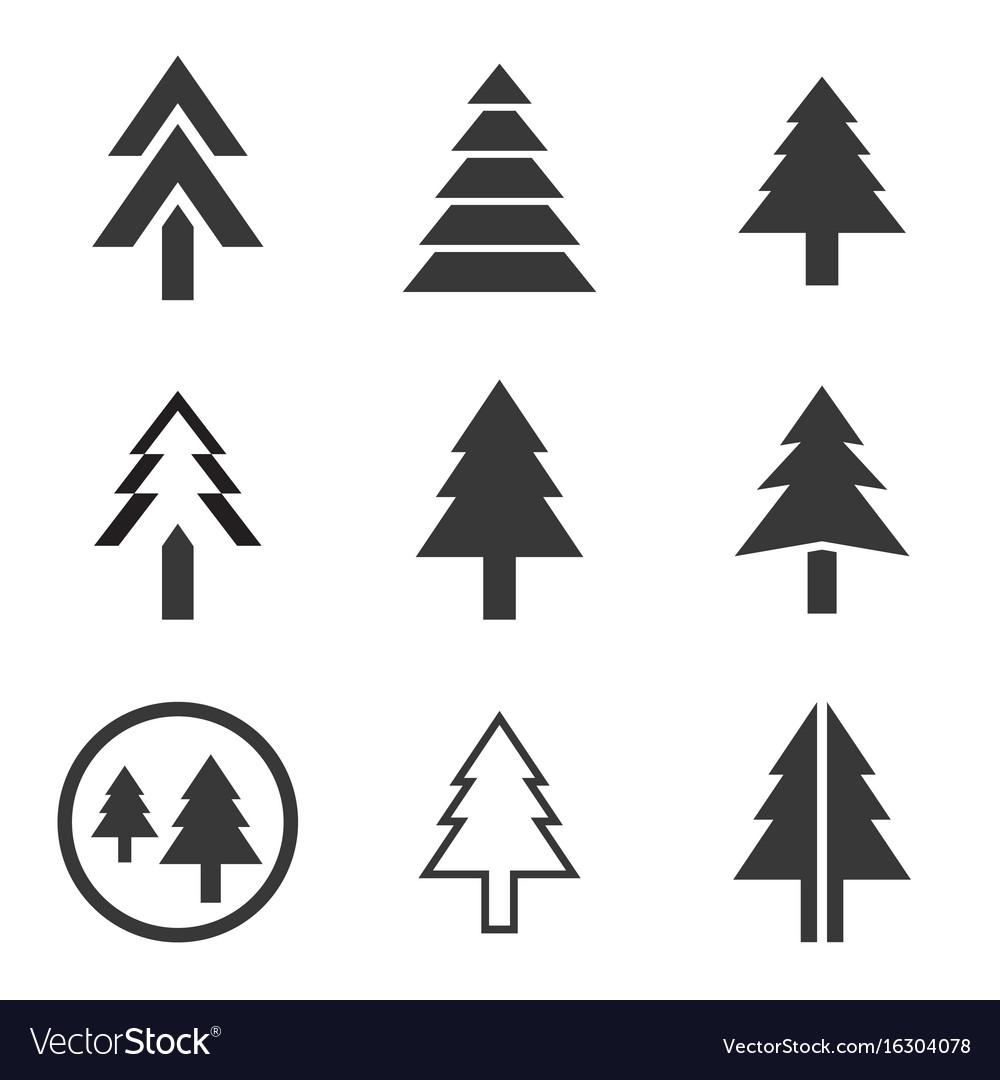 Pine tree icons set