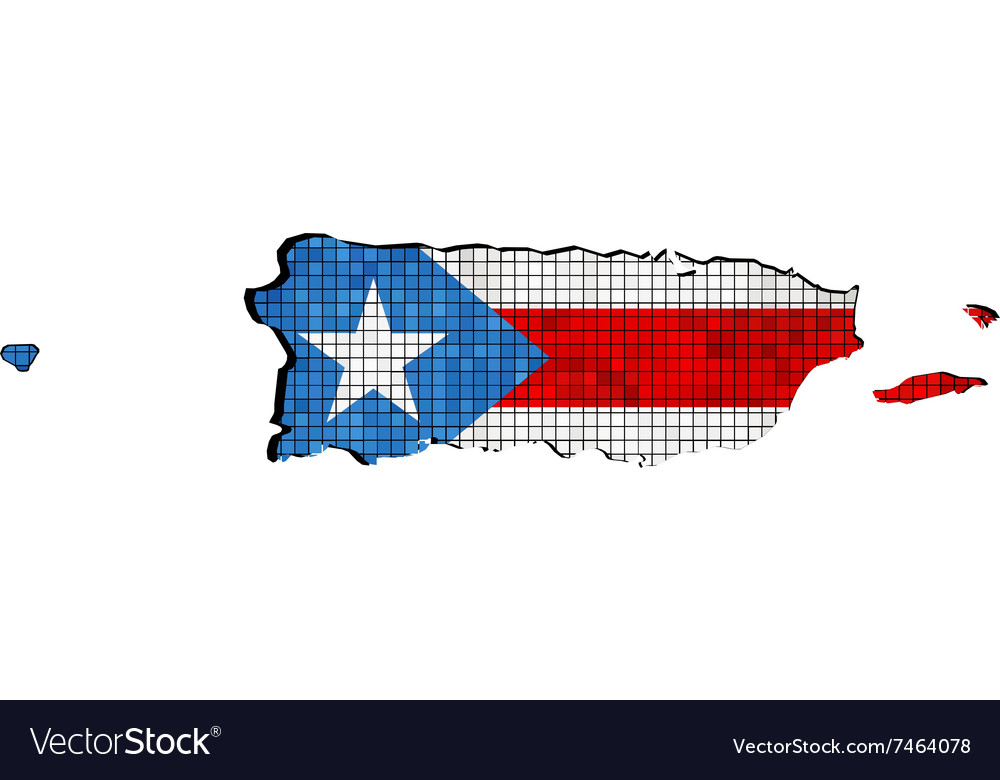 Puerto Rico map with flag inside