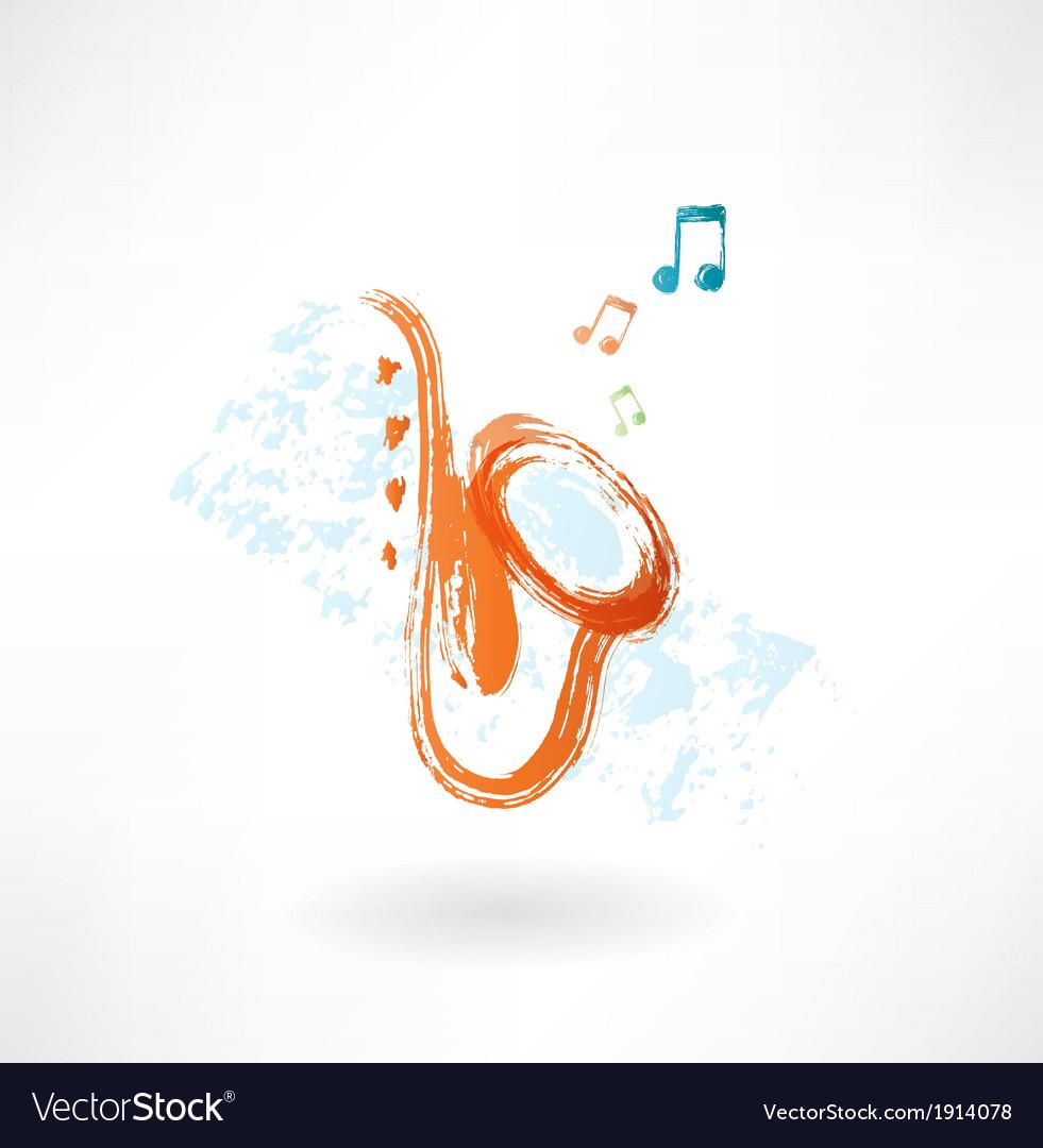 Sax grunge icon vector image