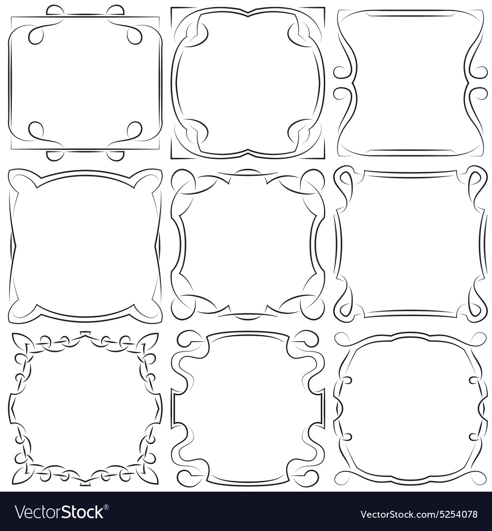 Set of nine square frames vector image