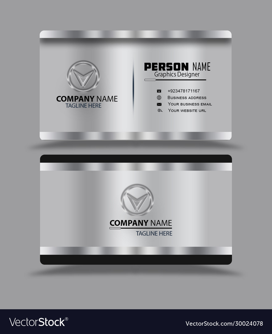 Silver black business card template psd Royalty Free Vector With Regard To Template Name Card Psd