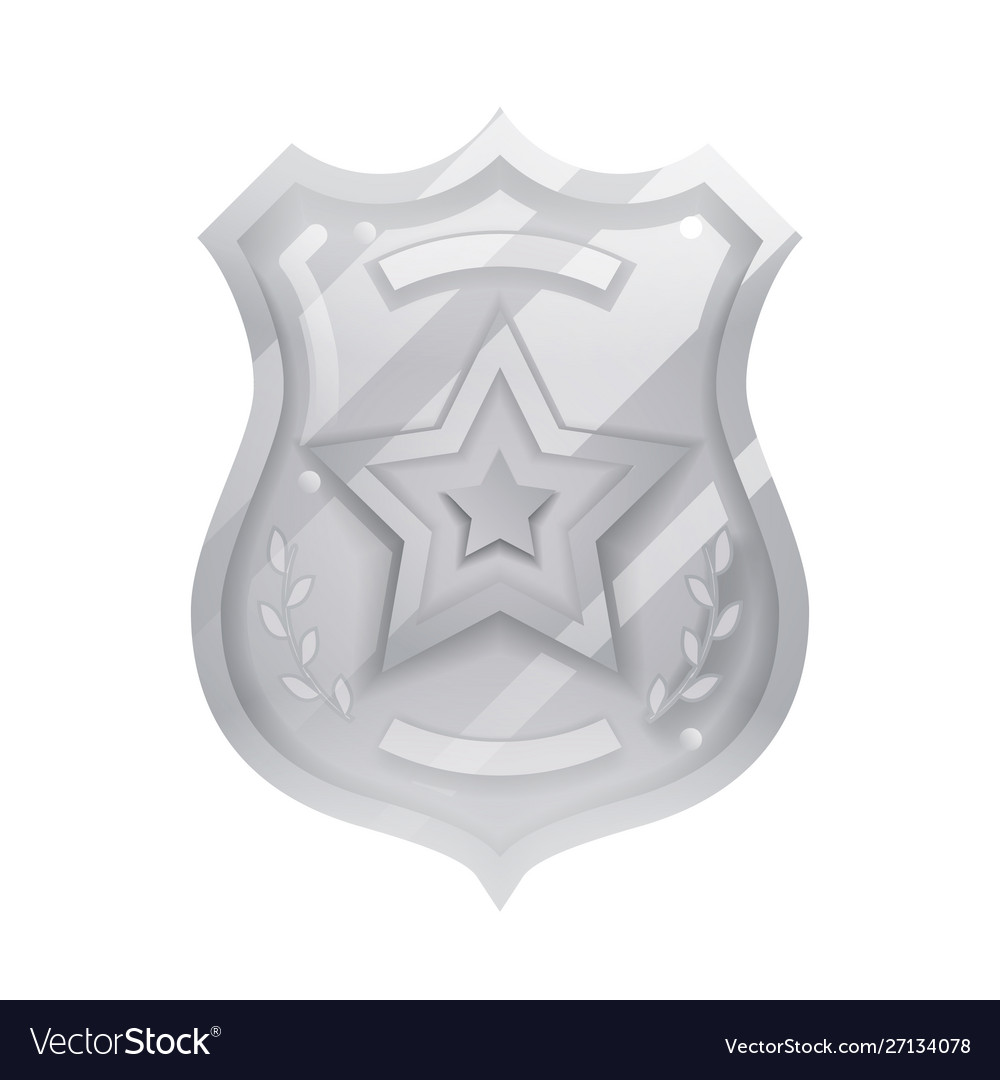Steel police officer badge icon protection vector