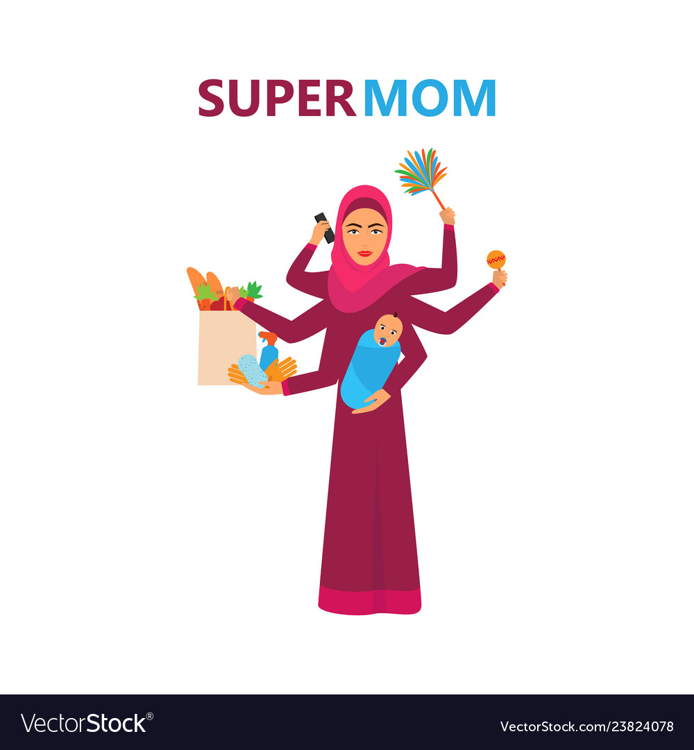 Super arabian woman super muslim woman super mom