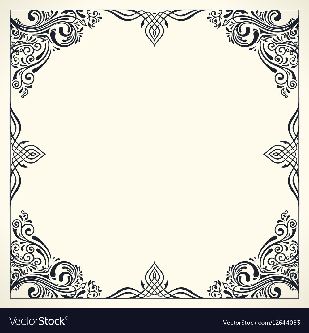 Calligraphic Border Frame Design Template For