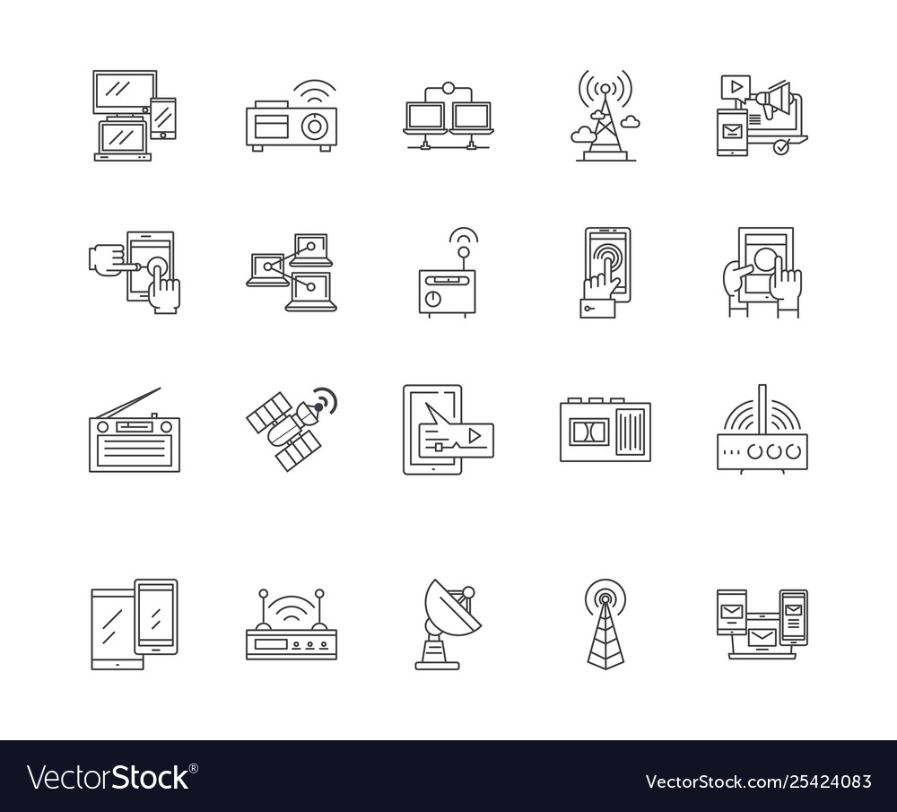 Connectivity line icons signs set