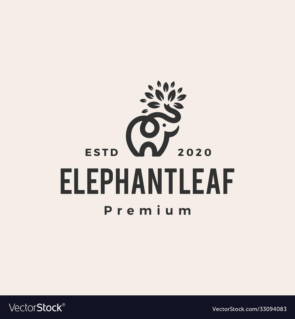 Elephant leaf leaves tree hipster vintage logo
