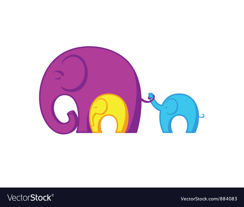 Elephants family vector image