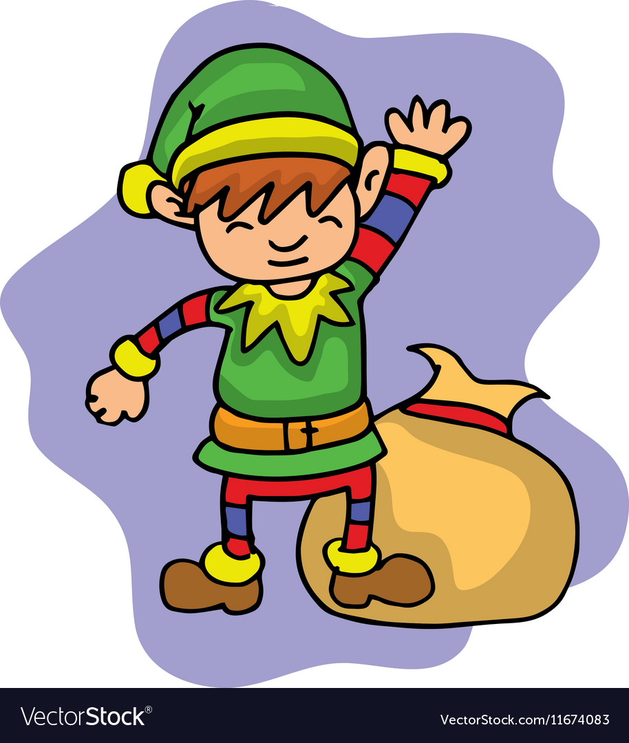 Elf with gift bag in Merry Christmas vector image