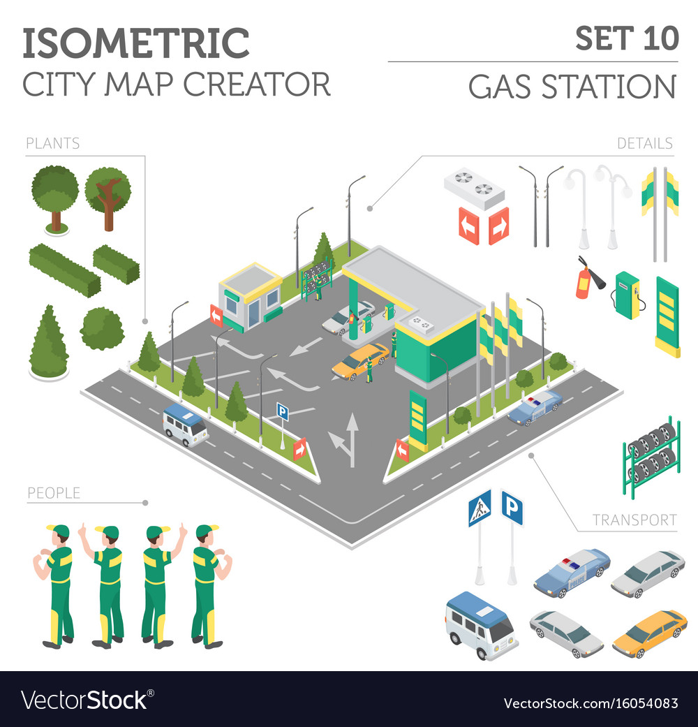 Flat 3d isometric gas station and city map