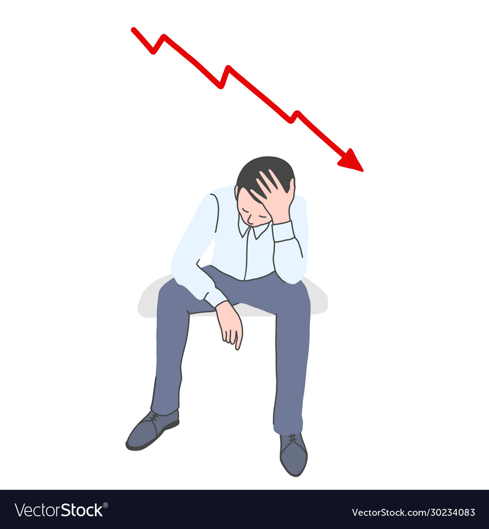 Frustrated man with falling chart behind