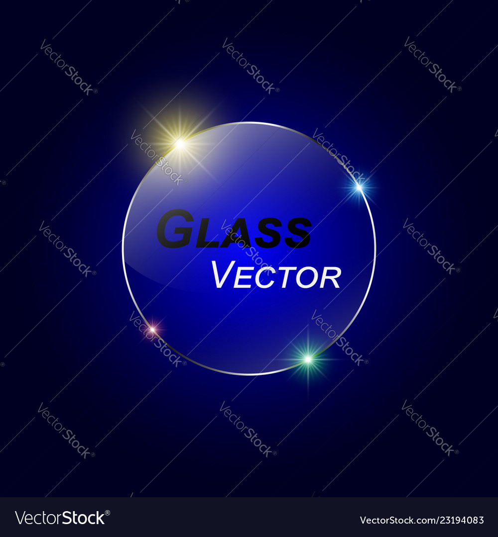Glass button on blue background