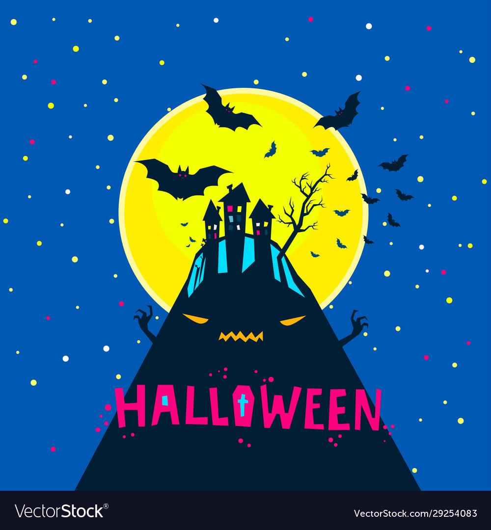 Halloween bats flying over a horrible hill