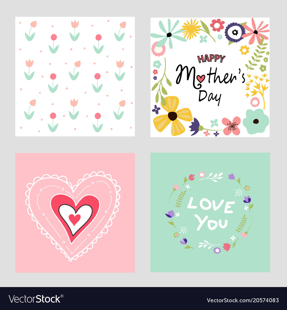 happy mothers day template cards set royalty free vector