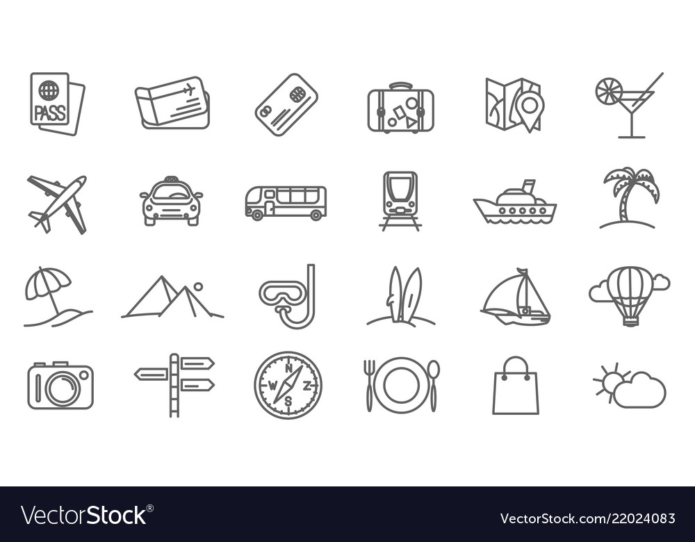 Holidays and travel icons