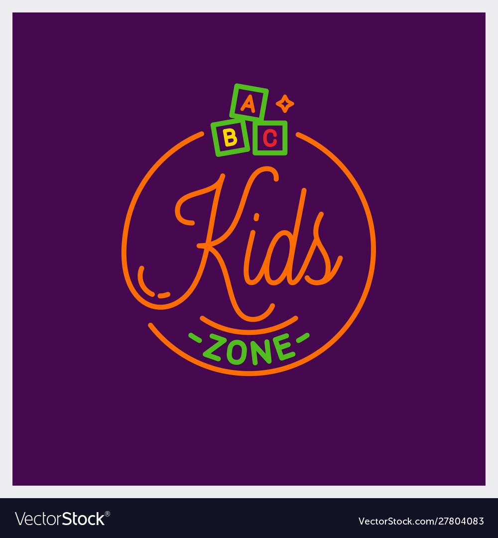 Kids zone logo round linear kids toys